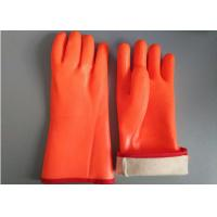 Quality Fluorescent Double Dipped PVC Gloves 35cm Length With Foam Insulated Liner for sale