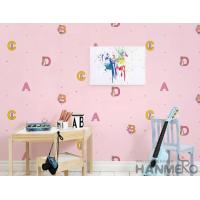 Quality Modern English Letters Kids Bedroom Wallpaper Pink Color Wallcovering for sale