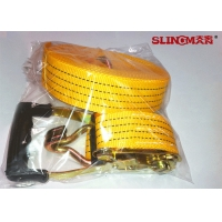 Buy 50MM Polyester Ratchet Tie Down Straps Yellow With Ratchet And Two Double J Hook at wholesale prices
