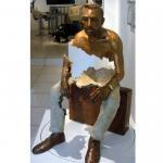 Quality Interior Landscape Design Bronze Statue Sitting Man Sculpture Long Life Time for sale
