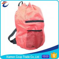 Quality Simple Design Coloured Drawstring Bags / Customized School Bags With Rain Cover for sale