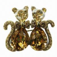 Quality Shiny Metal Brooch, Decorated with Large Glass Stones for sale