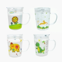 Microwavable 350ml Cartoon Glass Children'S Drinking Cups