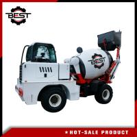 China White Concrete Transit Mixer Truck With Moving Arm Self Propelled Concrete Mixing System on sale