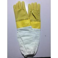 Buy cheap Goat Skin Yellow Bee Gloves Smoothy Leather Wrist Protector White Cloth Sleeve from wholesalers