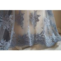 Quality Pale Blue Beaded 3D Flower Lace Fabric By The Yard For Wedding Dress for sale