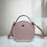 Quality Newest Copy Michael Kors Delaney Round Style Pink Genuine Leather Bag for sale