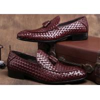 Quality Pointed Moc Toe Mens Woven Leather Loafers , Burgundy Mens Dress Shoes With Tassels for sale