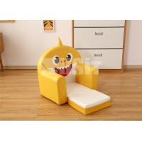 China Yellow Baby Shark Childrens Sofa Chair High Desinity Foam Flip Open Couch on sale