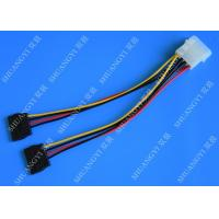 Quality 4P Molex To Dual SATA Flat Wire Harness And Cable Assembly Black Red Yellow With Y Cable Adapter for sale