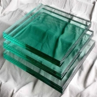 Quality Green Color Soda Lime 8mm Tempered Glass Panels Building Use for sale