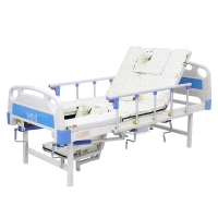 Patient Home Care Adjustable  Nursing multi-function Bed with Toilet Commode