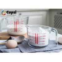 Buy cheap 500ml 2 Cup Glass Measuring Cup With Clear Red Graphics High Borosilicate from wholesalers