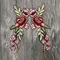China Colourful Floral Embroidered Applique Patches , Polyester Sew On Flower Appliques on sale