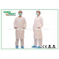 Quality White tyvek disposable lab coats / protective disposable chemical suits Breathable for sale