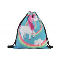 Quality Stock 39 * 30cm  Custom Drawstring Bags With Logo Cute Polyester Material for sale