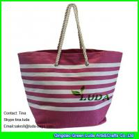 Quality LUDA large handbags for women striped top zipper paper look straw beach bags for sale