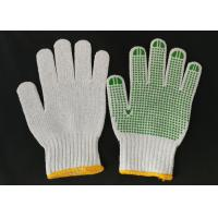 Quality Polyester Knitted Safety Hand Gloves ,  Knit Work Gloves Green PVC Dotted Grips for sale