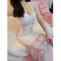 Quality Girls Thin Diamond Lace Ball Gown Wedding dress with one shoulder for fall for sale