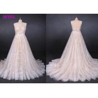 Quality Sexy Backless Female Wedding Dress Sleeveless Sequins Tulle Bright Lines And Chi Shapes for sale