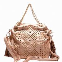 China ladies handbag made of synthetic leather customized designs on
