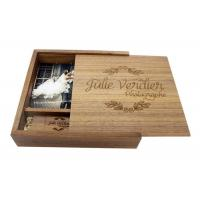 Quality Natural Wood 4 * 6 Inches Wooden Photo Boxes For Photographers Square Shape for sale