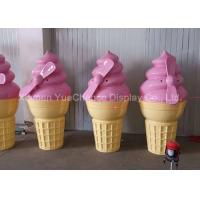 China Pink Color Shop Display Christmas Decorations Fiberglass Ice Cream Cone Height 160cm on sale