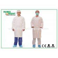 Quality Tyvek Disposable Lab Coats With Korean Collar And Zip for sale