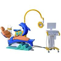 China Children Kids Dental Chair Unit Cute Dolphin Blue Cartoon Design With LED Operation Lamp on sale