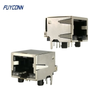 Quality 1 Port 1x8P Right Angle PCB Female RJ45 Modular Connector for sale