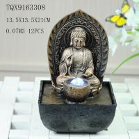China Buddha Polyresin Water Fountain With Ball And Led Color Light 13.5 X 13.5 X 21 Cm on sale