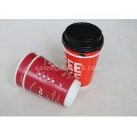 Quality Red Double Wall To Go Custom Disposable Coffee Cups With Black Lid for sale