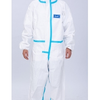Quality Antibacterial Non Woven Disposable Coverall Medical Protective Suit 170cm With Shoe Cover for sale