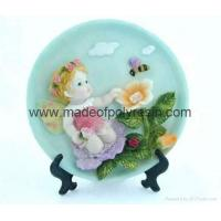 China polyresin/polystone 2D sculpture for baby angel plate on sale