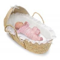 Quality Natural Wicker Moses Baby Basket with Hood and White Bedding for sale