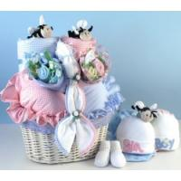 Quality Baby Gift Baskets Bee...utiful Baby Basket Gift for Twins for sale
