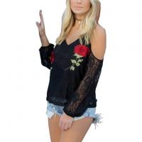 China Antique Embroidery Openwork Lace Blouses Women Black Cold Shoulder Full Sleeve Floral Lace Tops on sale