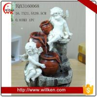 China Animal Statues Artificial angel polyresin water fountain for home decor on sale