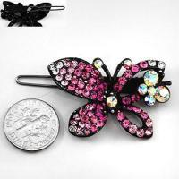 Quality Fuschia Crystal Butterfly Hair Barrette for sale