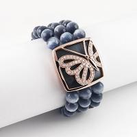 Quality ROSE GOLD PLATED SILVER BRACELET WITH CAT EYE BEADS. for sale