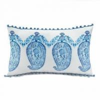 Quality Tasseled Blue Paisley Pillow for sale