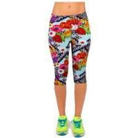 Quality Salable Funny Calendula Flowers Printed Absorbing Knee-length Capri Leggings for sale