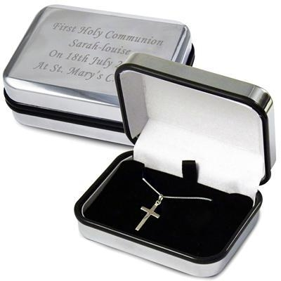 Buy Birthday Gifts Personalised Box with Silver Cross Necklace at wholesale prices
