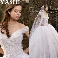 Quality Cap Sleeves Puffy Bridal Ball Gown Crystal Flowers Wedding Dresses Wd99 for sale