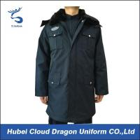 Quality Winter Fur Collar Long Law Enforcement Outerwear For Security Guard / Police for sale