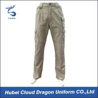 Quality Middle East Beige Security Guard Pants For Men / Police Cargo Pants Poly Cotton Canvas for sale