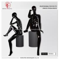 Quality bright black color female sitting mannequin for sale
