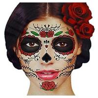 Quality Glitter Red Roses Day of the Dead Sugar Skull Temporary Face Tattoo Kit - Pack of 2 Kits for sale