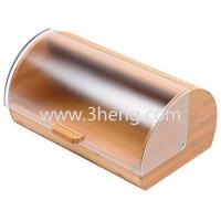 Quality Bread Box made of pure Bamboo with stylish easy glide cover with handle for sale