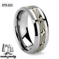 Quality Damascus Steel inlay tungsten ring tungsten wedding rings RTR-015 for sale